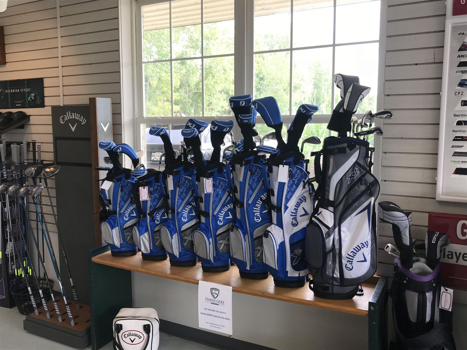 Demo Clubs are displayed at the pro shop at Family Golf & Learning Center in St. Louis